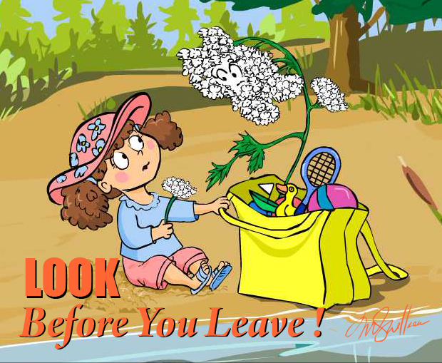 Illustration of a girl with an invasive species in her beach bag